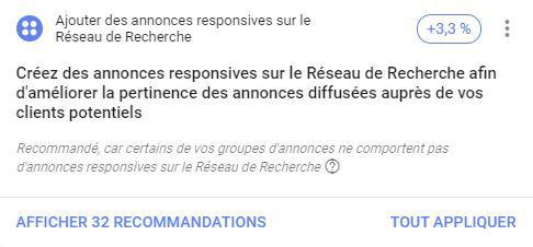 recommandations google ads annonces et extensions